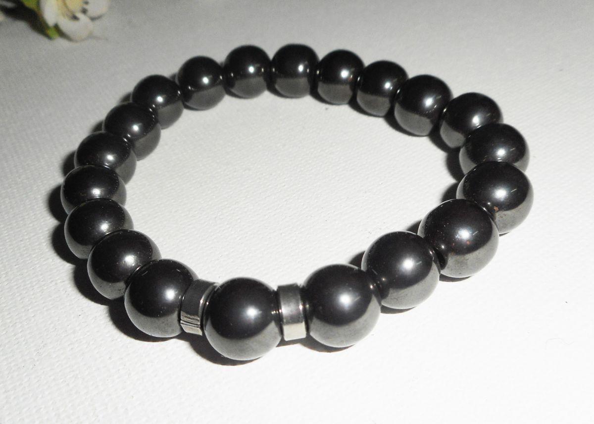Bracelet en pierres d'hématite avec rondelles en acier inoxydable