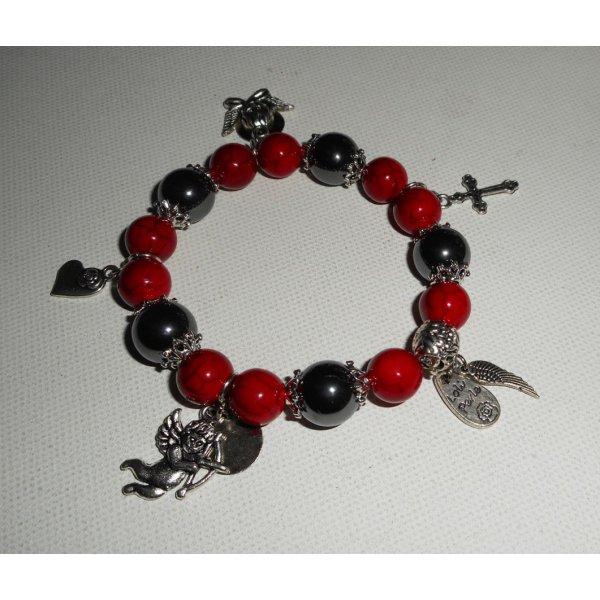 Bracelet en pierres d'hématites et turquenite rouge avec pampilles thème anges