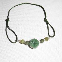 Bracelet pierres de jade et argent 925 sur cordon réglable