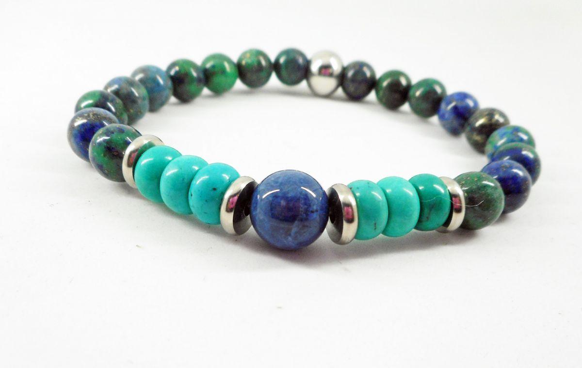 Bracelet en pierres de lapis lazuli et turquoise avec perles en acier inoxydable