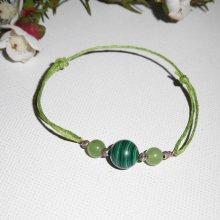 Bracelet pierres de  malachite avec jade et argent 925 sur cordon vert réglable