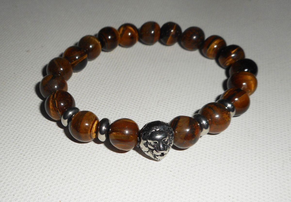 Bracelet en pierres d'oeil de tigre marron et lion en acier inoxydable