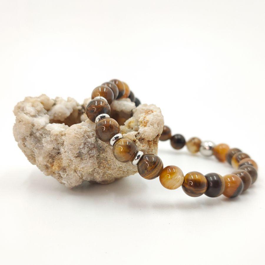 Bracelet en pierres d'oeil de tigre et acier inoxydable pour homme