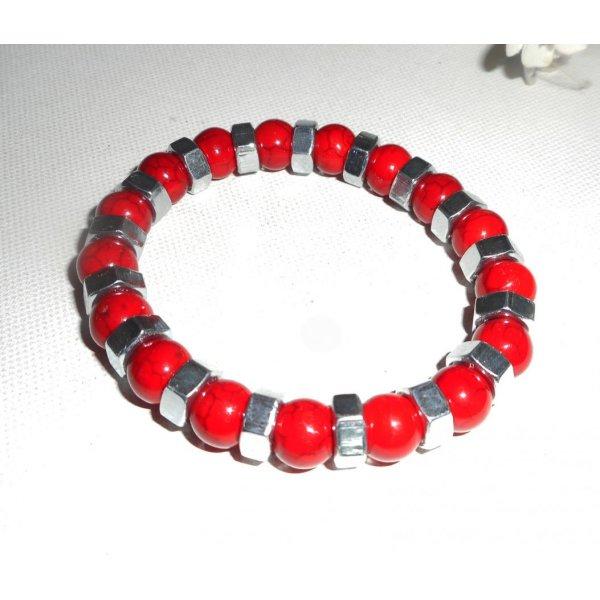 Bracelet en pierres rouges avec boulons en acier inoxydable