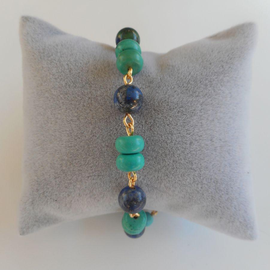 Bracelet en pierres semi-précieuses turquoise et bleu