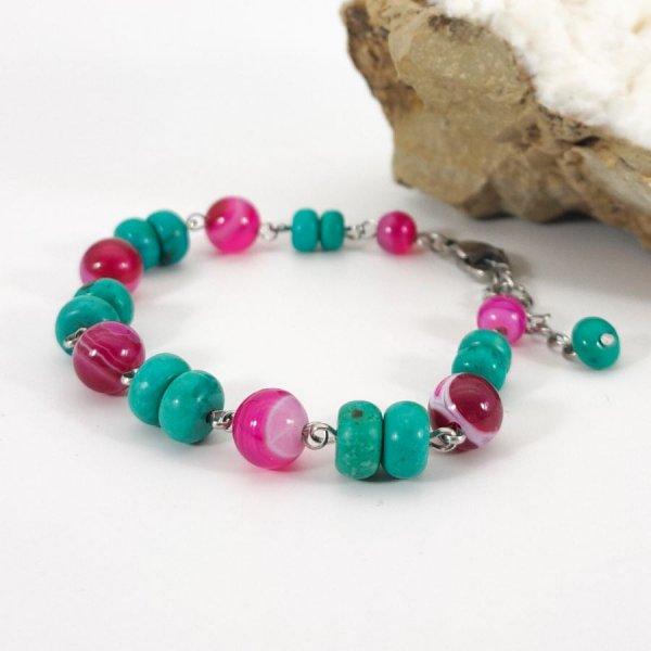 Bracelet en pierres de turquoise et agates rose fuchsia