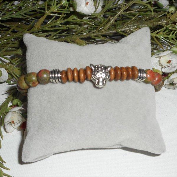 Bracelet pierres en unakite, bois avec tête de panthère