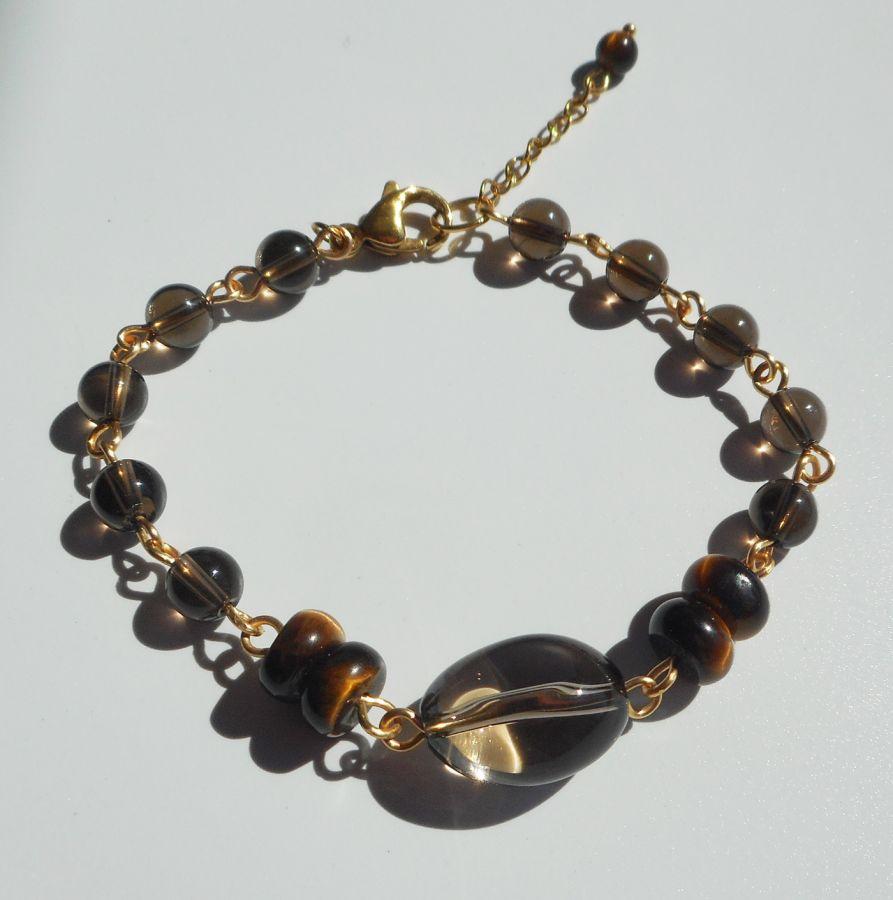 Bracelet en quartz fumé et oeil de tigre