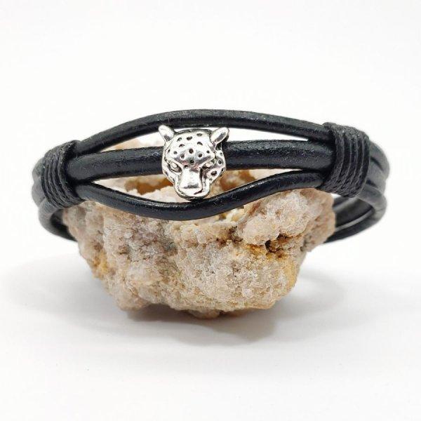 Bracelet tigre sur cordons de cuir noir