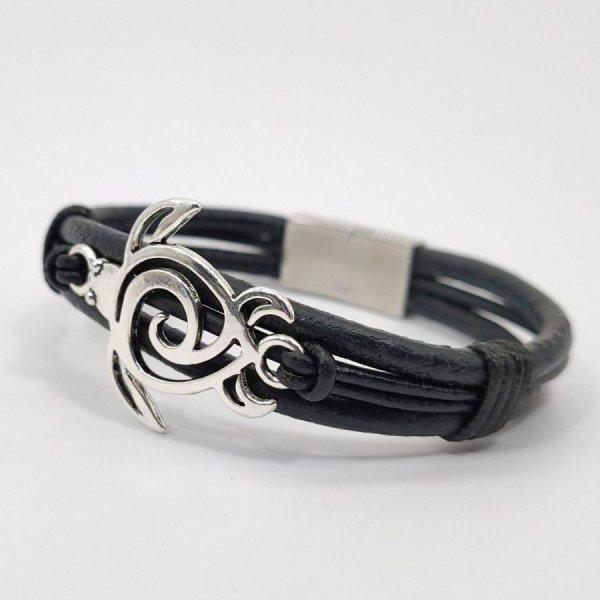 Bracelet tortue de mer sur cordon de cuir noir