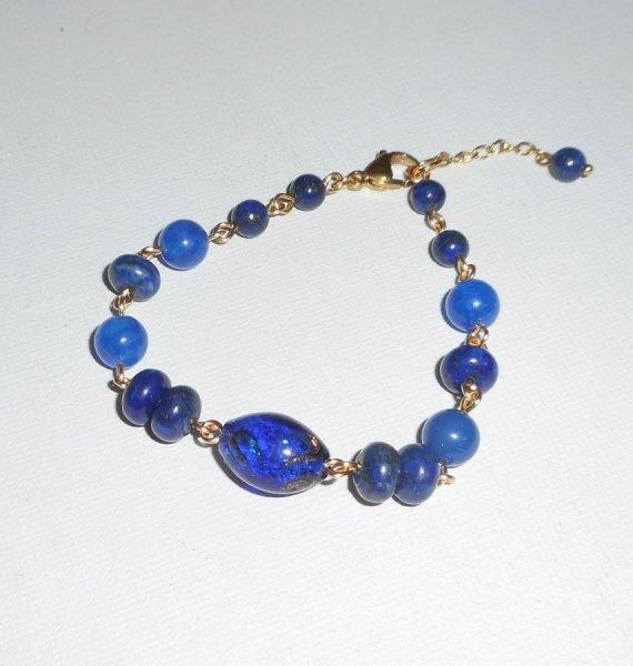 Bracelet en Verre de Murano et pierres semi-précieuses bleu