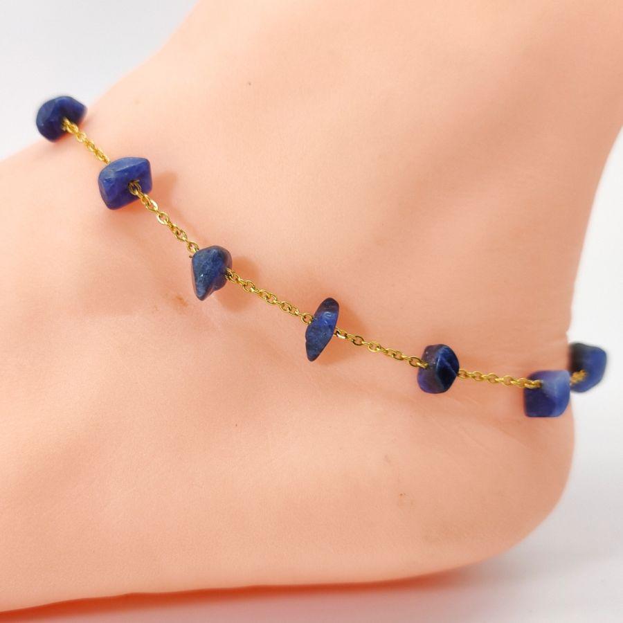 Chevillère chips Lapis Lazuli bleu