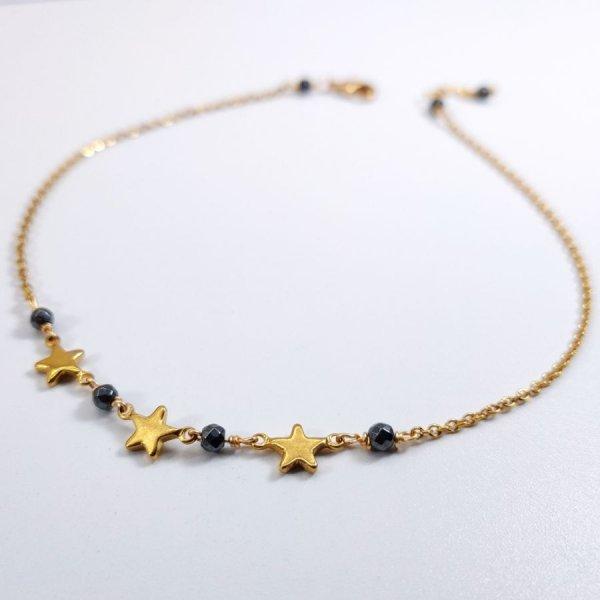 Chevillère 3 étoiles en acier inoxydable doré avec pierres en hématite