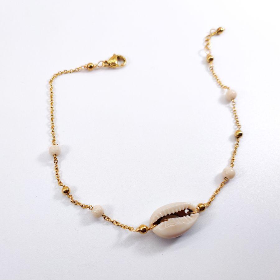 Chevillère coquillage cori avec pierre sur chaine en acier inoxydable doré