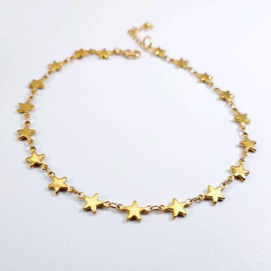 Chevillère étoiles en acier inoxydable doré