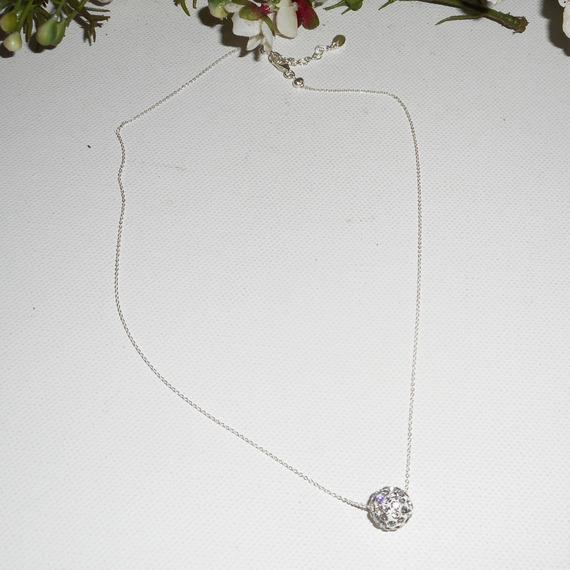 collier en argent 925 avec perles en cristal de Swarovski sur fine chaine
