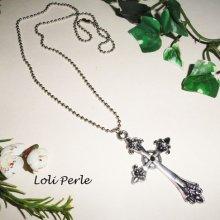 Collier homme avec croix en métal argent