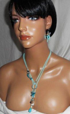 Collier lacet en daim bleu sirène avec étoile de mer, bouteille et pierres