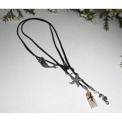 Collier lacet en daim noir sirène avec étoile de mer, bouteille et hippocampe