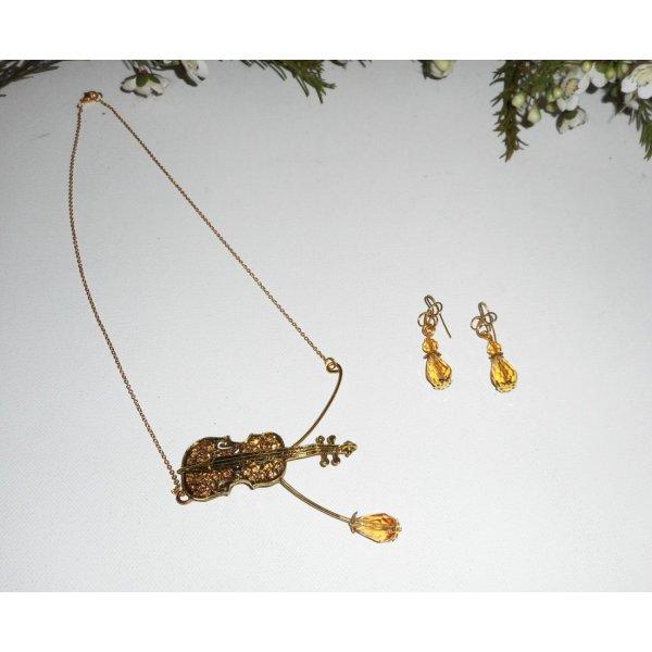 Collier original violon en cristal ambre sur chaine doré