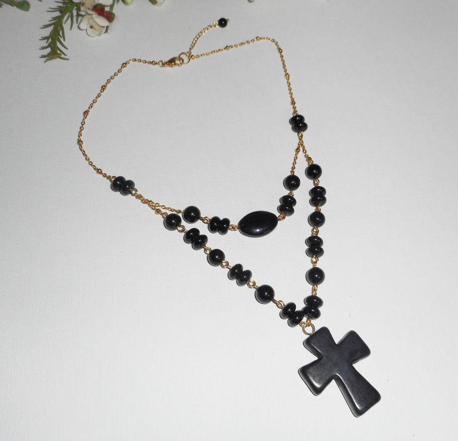 Collier pierres onyx avec grande croix double rangs