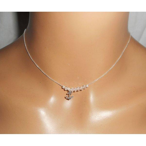 Collier ras de cou en argent 925 avec ancre et  perles en cristal
