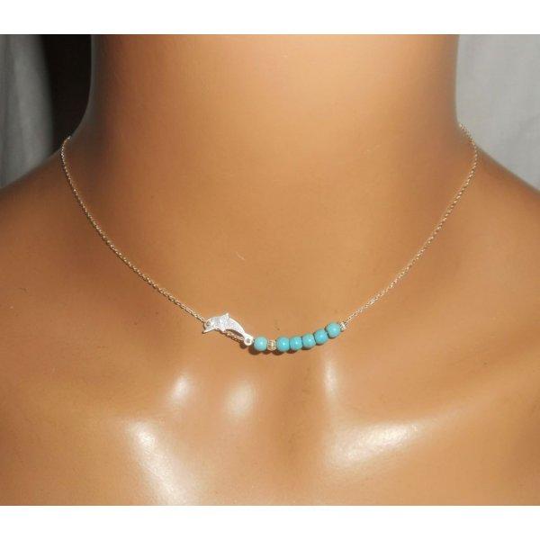 Collier ras de cou en argent 925 avec petit dauphin et pierres turquoise