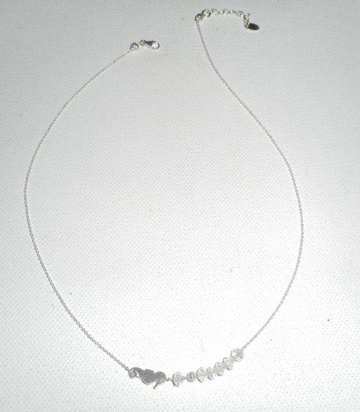 Collier ras de cou en argent 925 avec petit hippocampe et perles en cristal