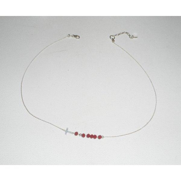 Collier ras de cou en argent 925 avec petite croix etperles en cristal rouge