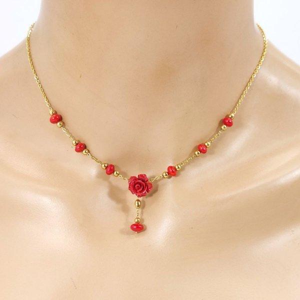 Collier rose rouge en gorgone