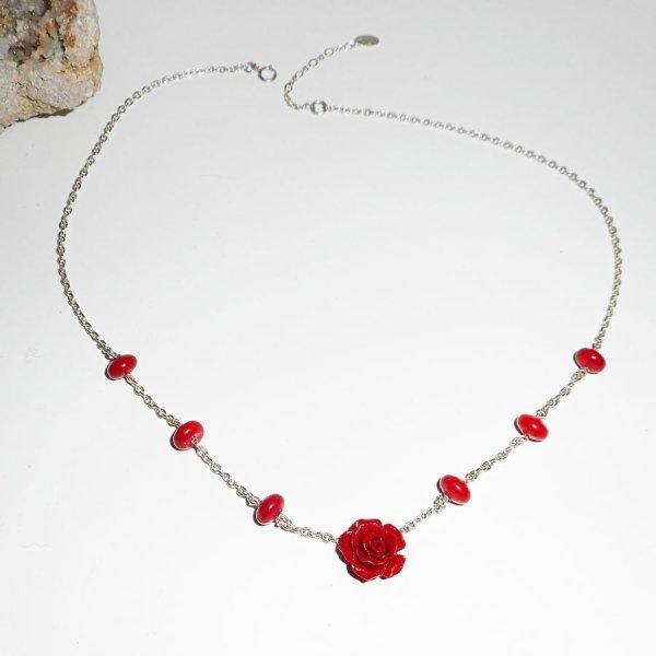 Collier rose rouge en gorgone et argent 925