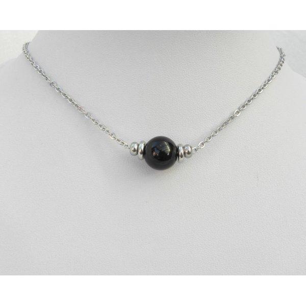 Collier solitaire avec pierre en onyx ronde et perles en acier inoxydable