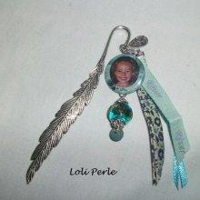 Marque page personnalisé avec votre photo au choix avec perles et rubans assortis