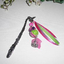 Marque pages  perle fleurie multicolore avec perles en verre et chat argent