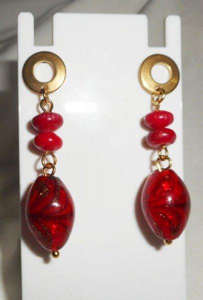 parure Collier en gorgone rouge et verre de Murano double rangs
