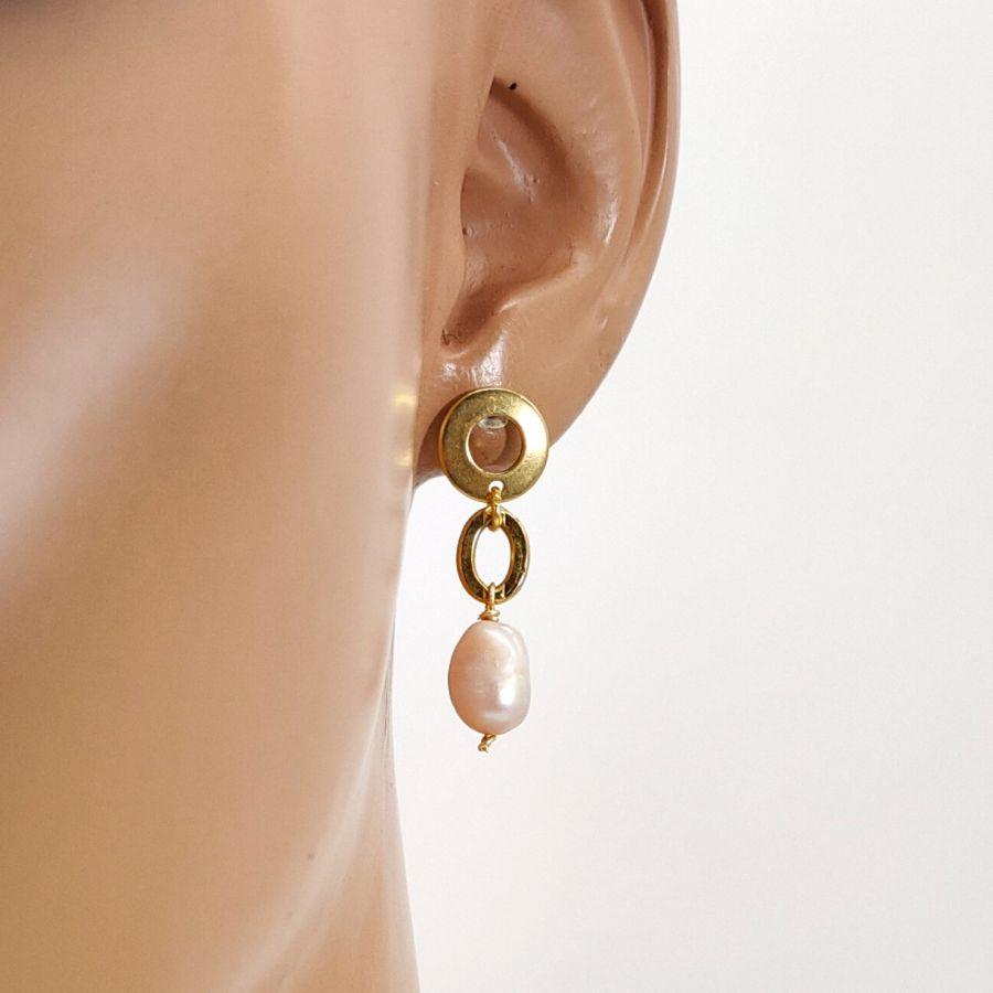 Parure Collier grosse chaine avec perles de culture baroque