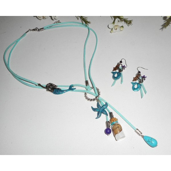 Parure Collier lacet en daim bleu sirène avec étoile de mer, bouteille et pierres