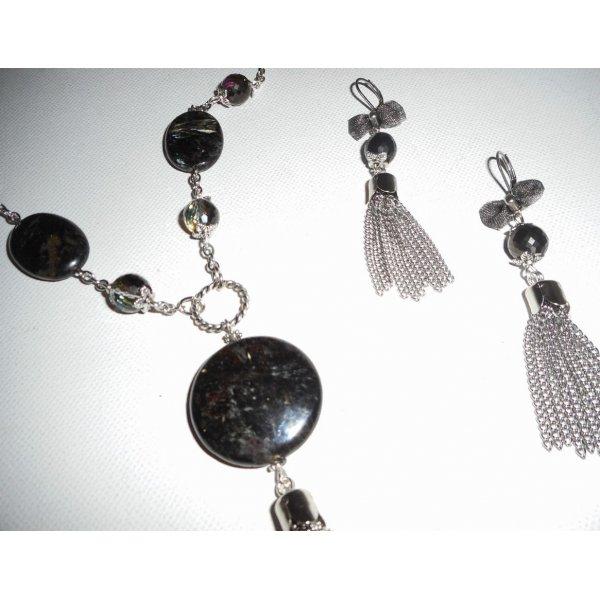Parure Collier en pierres d'astrophilite avec perles en cristal et pompon en métal argent
