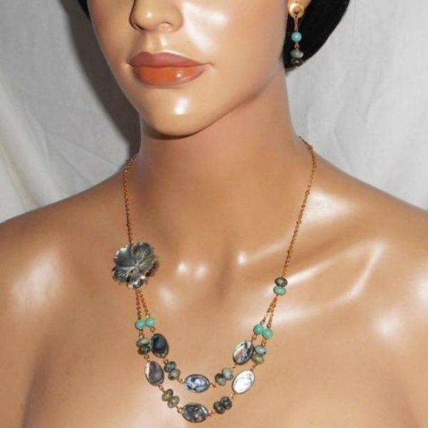Parure Collier pierres de jaspe verte avec  fleurs et palets d'abalone double rangs