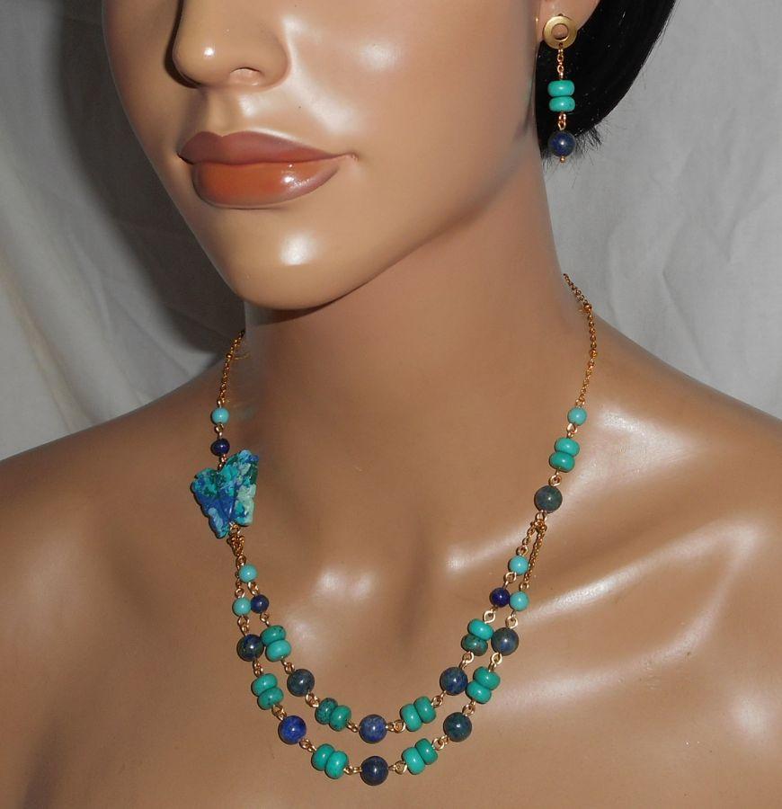 Boucles d'oreilles Lapis Lazzuli et Turquoise