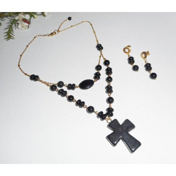 Parure Collier pierres onyx avec grande croix double rangs