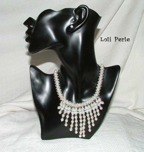 Parure de mariage en perles blanches nacrées
