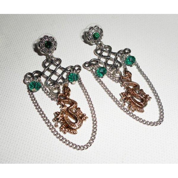 Parure originale double dragons en métal peint avec cristal de bohème vert