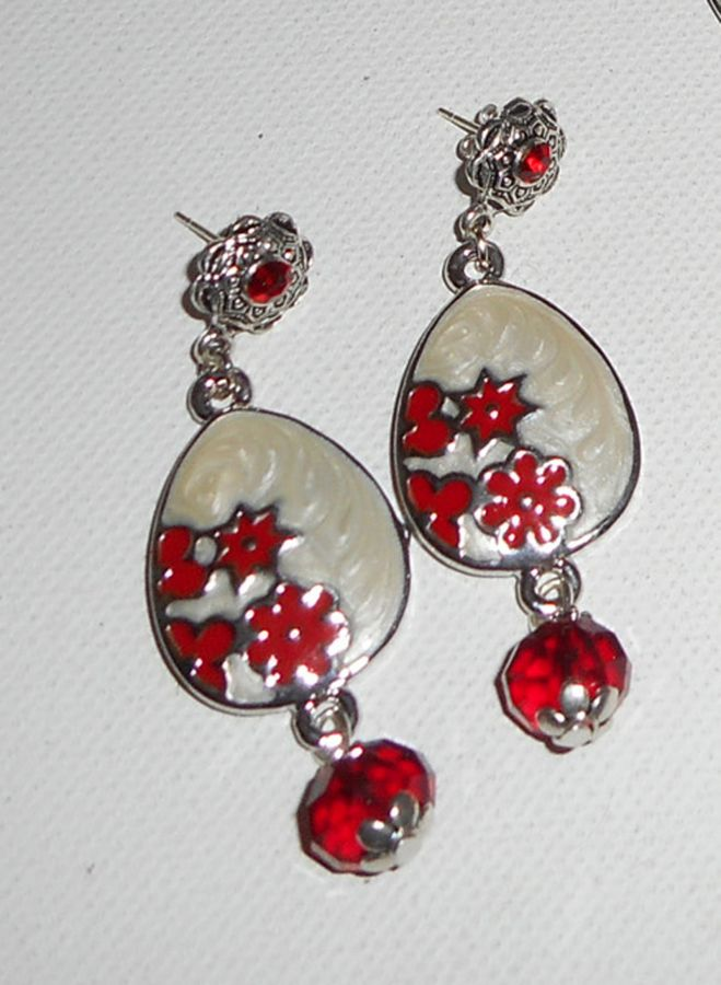 Parure Sautoir en émail rouge et blanc avec perles en cristal
