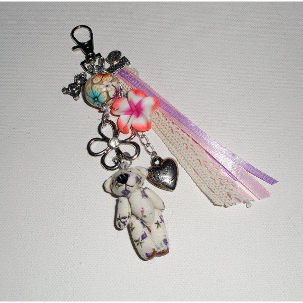 Porte clés/Bijoux de sac ourson avec perles fleuries multicolores et rubans