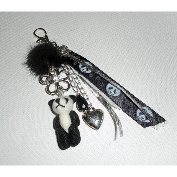 Porte clés/Bijoux de sac panda avec pompon en vison noir et rubans