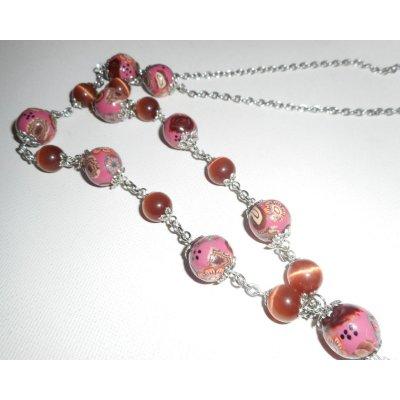 Sautoir en perles d'argile fleuri et coupelles en métal
