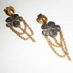 Boucles d'oreilles fleur de nacre avec chainage or