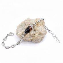 Bracelet agate sur chaine grain de café en acier