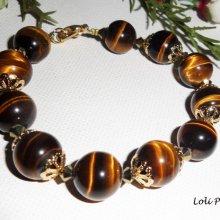 Bracelet  pierres oeil de tigre marron toupies cristal sur plaqué or